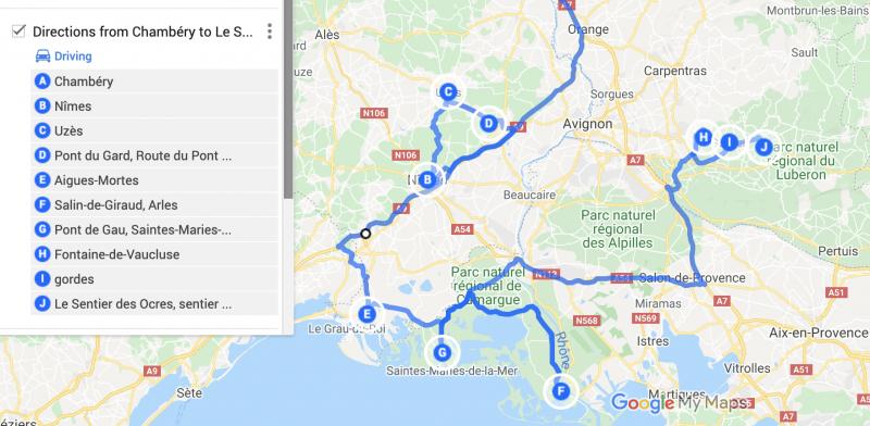 itinéraire camargue et roussillon